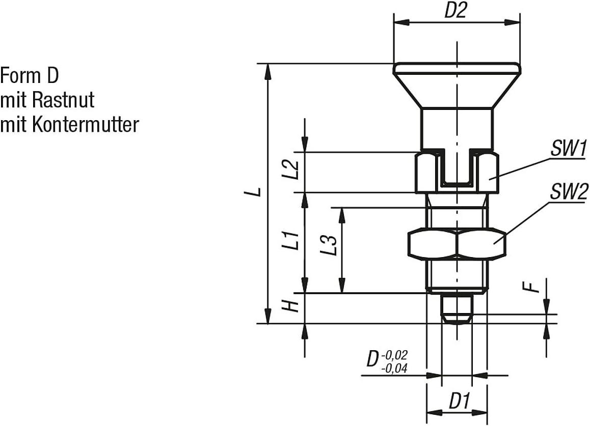 D = 10 1/pieza Kipp pernos de bloqueo endurecida Talla 4/M20/x 1,5 forma: D termopl/ástico productos: acero k0338.4410