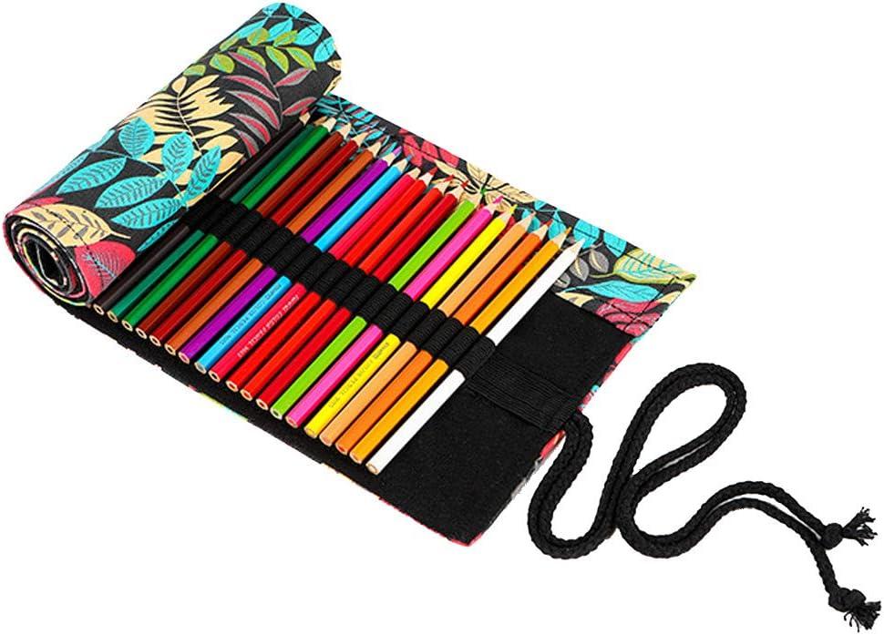 Enroulable Trousse Sac /à Crayon en Toile pour L/'Ecole et Bureau Mushanhun Rouleau Trousse pour Crayons de Couleur 12 Trous Motif de Feuilles Color/ées