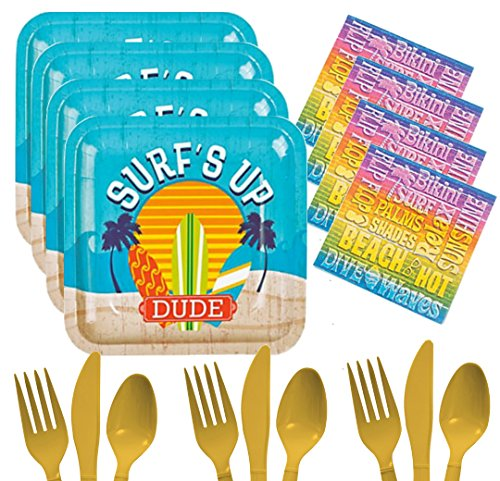 Pool Party Supplies For 16 - Surfs Up Dude Beach Bum Swimming Themed Party Pack - Toddler, Girls, Boys, Kids, Adults - Plates, Napkins, Cutlery Bundle