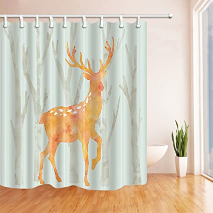 BCNEW Animal Theme Wintertime Deer Shower CurtainYellow DeerWhiteTrees With No