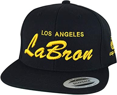 Amazon Com Los Angeles Player Lebron Lakers Color Custom Script Embroidered Snapback Hat Cap Black Gold Clothing