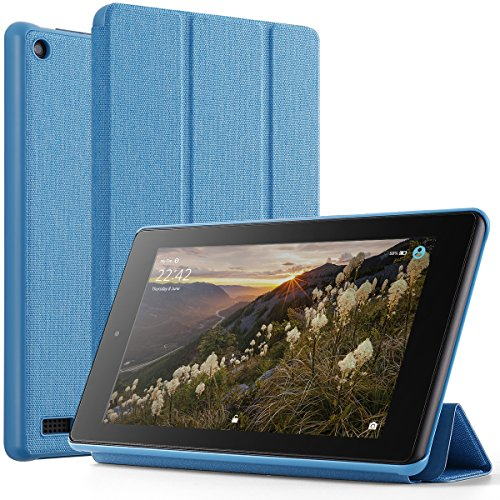 Poetic Slimline Fire 7 2017 Premium Fabric Slim-Fit lightweight Trifold Cover Stand Folio smart cover Case with Auto Sleep/Wake for Amazon Fire 7 (7th Generation, 2017 Release) Blue