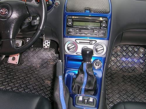 Black Alcantara-Blue Thread RedlineGoods Shift Boot Compatible with Toyota Celica 2000-06
