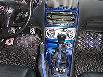 RedlineGoods Manual Shift Boot Compatible with Toyota Celica 2000-06 Black Leather-Tan Thread