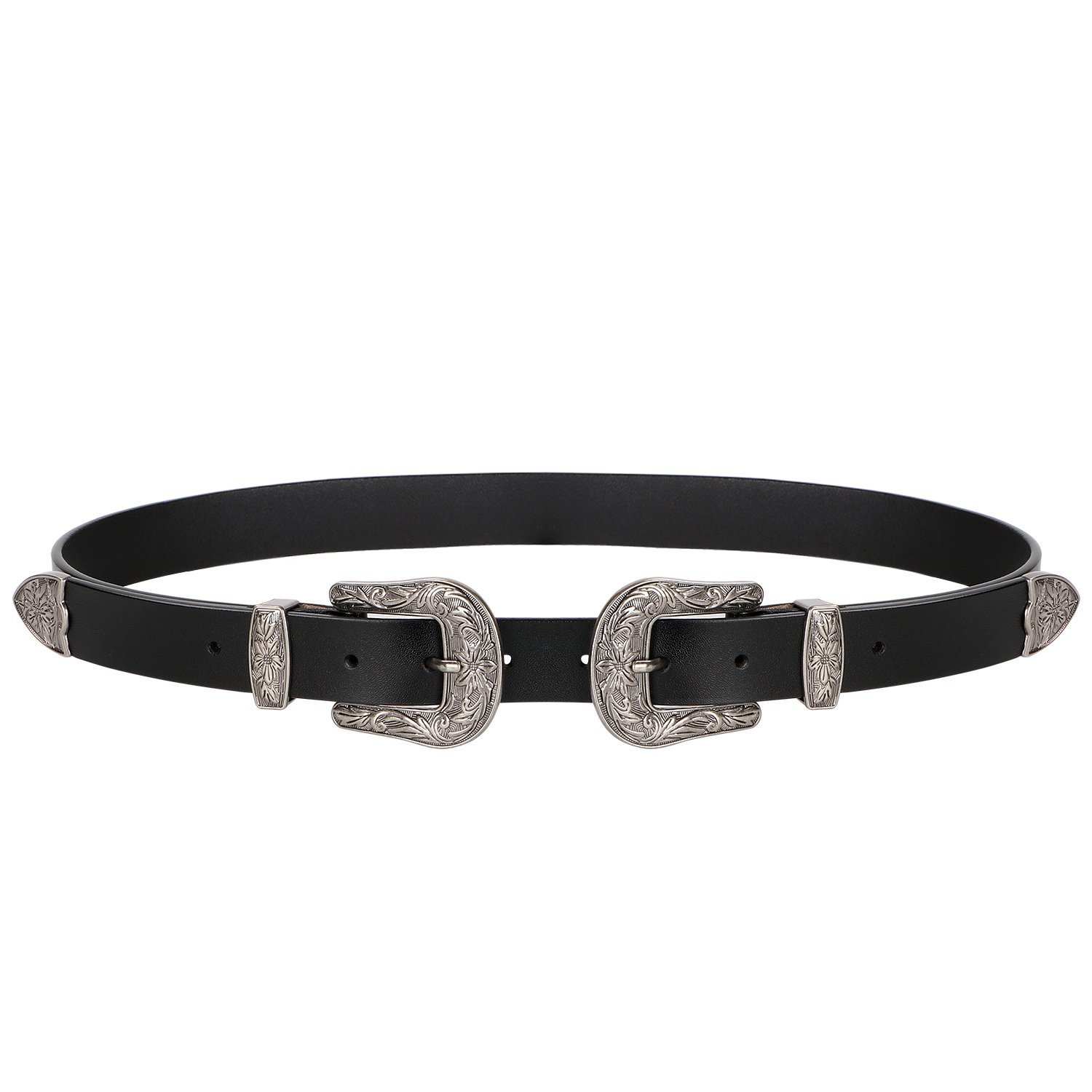 Women Leather Belt Black Ladies Vintage Jeans Belts Leather with Double Solid Buckles Fits 28''-34'' Waist Belt Black