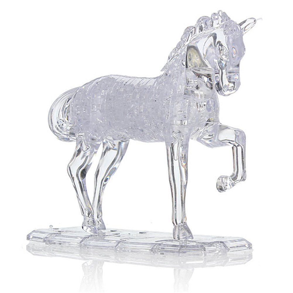 Rnow 3D Crystal Puzzle Cube DIY Horse Model Fancy Toys Handmade Christmas Gift for Age 14+ UNDIY10-0002-CLEAR