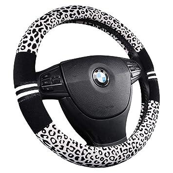 Funda para volante de coche de felpa con estampado de leopardo, cálida, de invierno