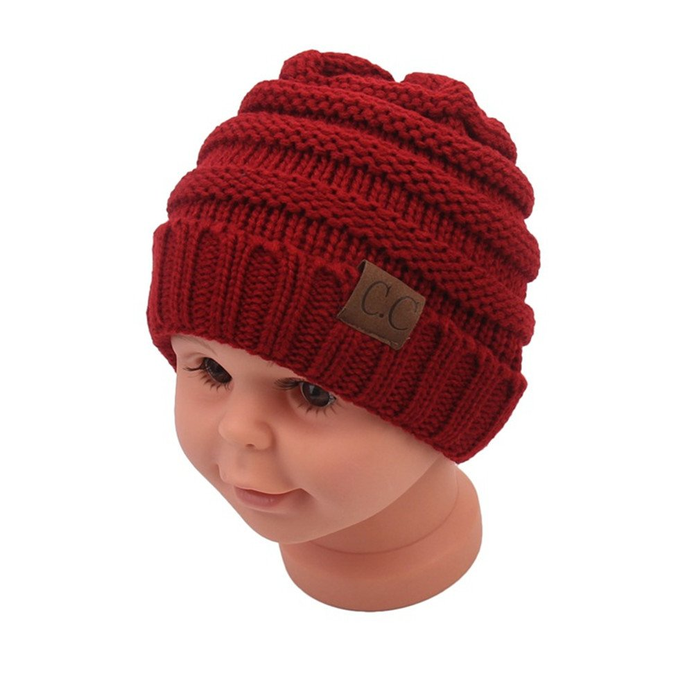 Infant Toddler Kids Beanie Knit Cap for Girls and Boys Sechunk Baby Boy Winter Warm Hat 0-5years Beige