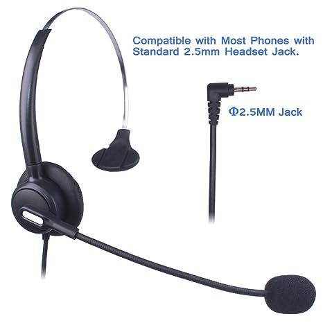 Auriculares Teléfono Fijo 2,5 mm Mono, Cancelación de Ruido Micrófono, Control de Volumen, Cascos Teléfono inalámbrico para Panasonic Polycom Grandstream ...