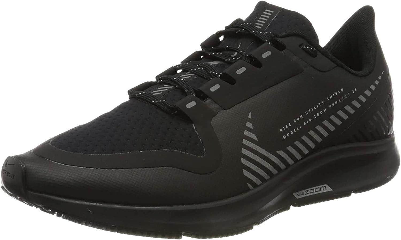 Nike Men's Air Zoom Pegasus 36 Shield Running Shoes Black Black Black Mtlc Silver 001