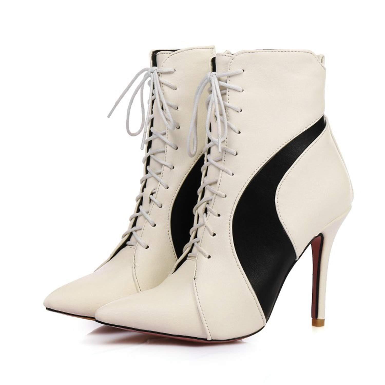 Stiefel Stiefel Stiefel Damens's Stiefel Wies High Heel Binden Fein mit Groß Martin Weiß 3eff58