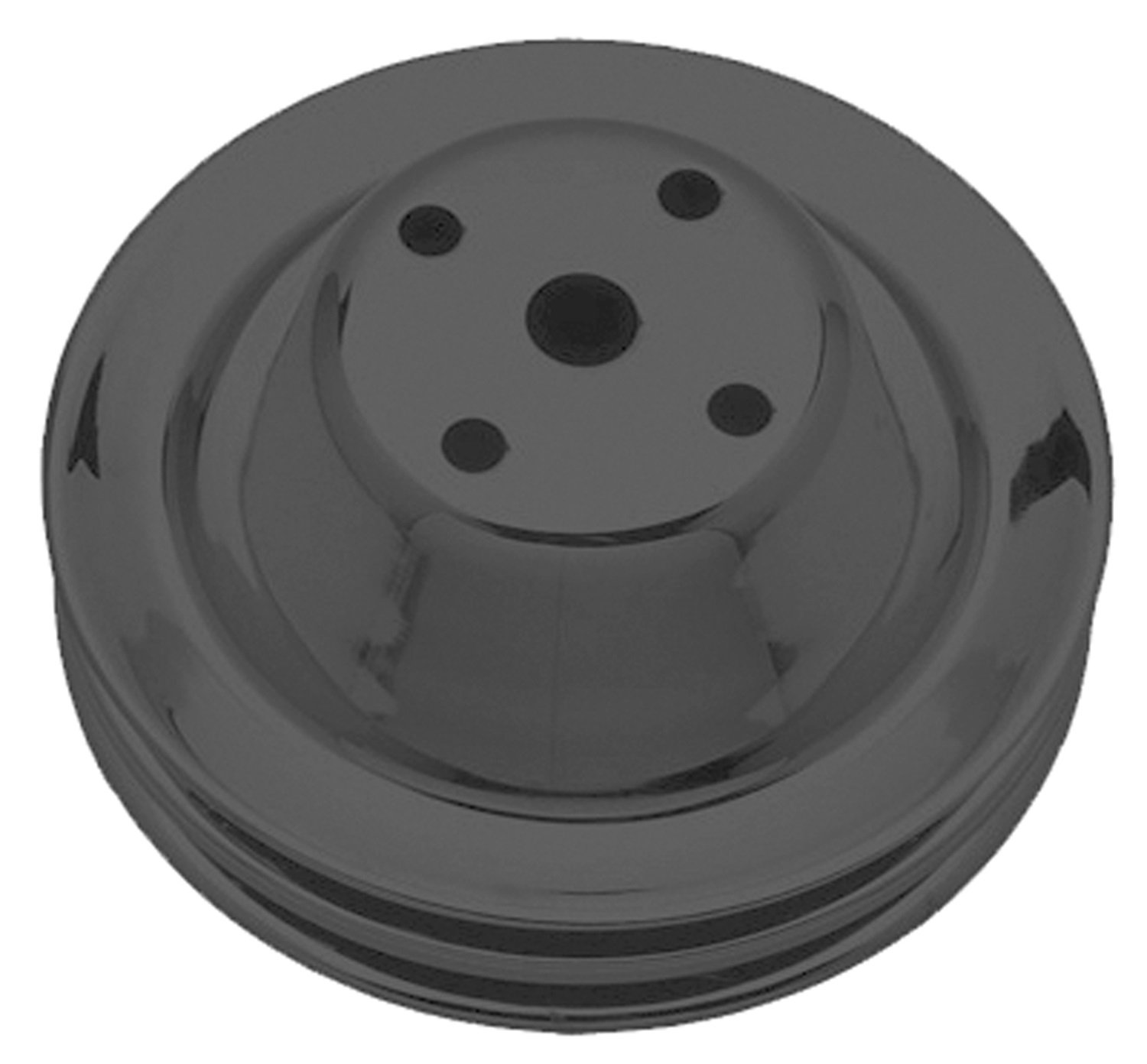 Trans-Dapt Performance 8605 Water Pump Pulley 6.3 in. Dia. 2.25 in. Depth Double Groove Long Style Black Satin Powder Coated Water Pump Pulley