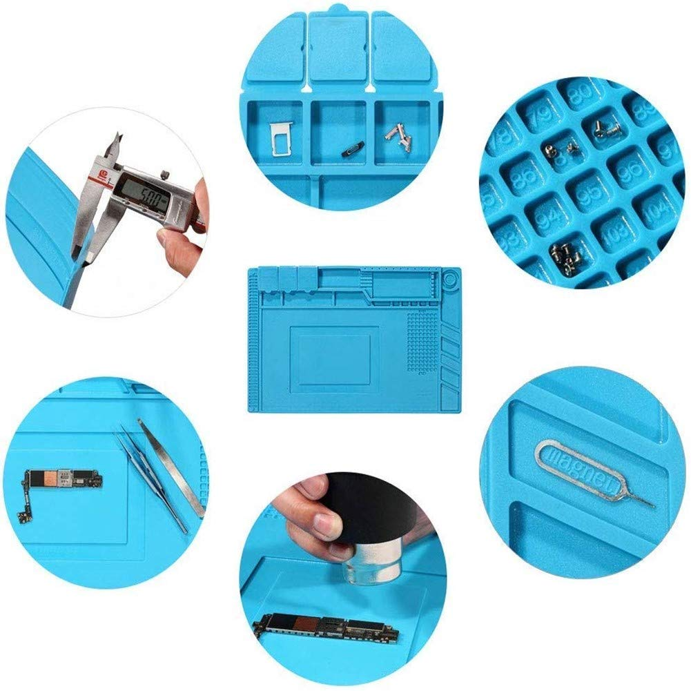 Telephone and Computer Maintenance. Silicone pad 500℃ high Temperature Magnetic Work pad Repair pad Welding pad Anti-Static for Soldering Iron 35 x 25