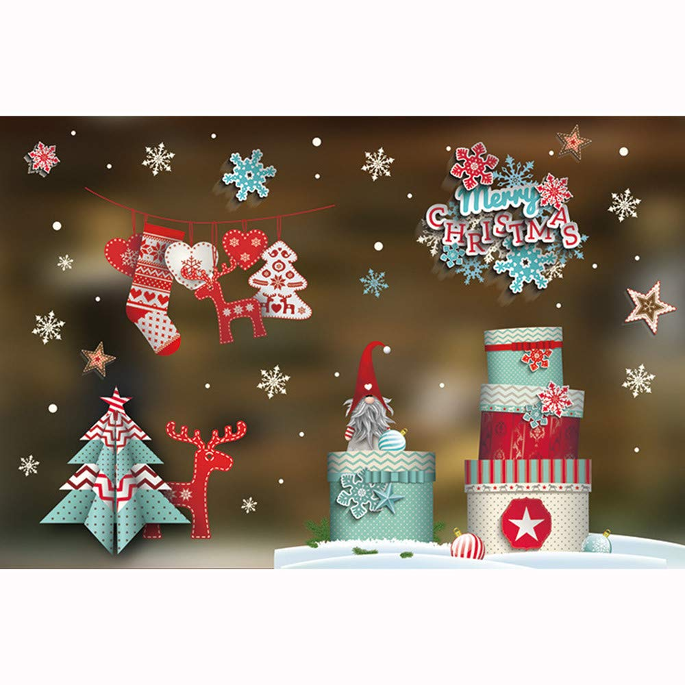 DIY pgojuni Christmas Creative Carving Can Remove Personality Wall Stickers Removable Wallpaper Home Decor 1PC (J) by Pgojuni_Wallpaper (Image #1)