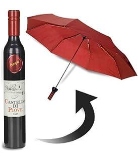 botella con forma de paraguas de vino