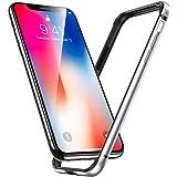 Miimall iPhone Xs ケース iPhone X ケース iPhoneX Xs バンパー, アルミ シリコン アイフォンX 用 耐衝撃保護 カバー ケース (iPhone X iPhone XS, シルバー)
