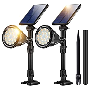 Solar Lights Outdoor, 18 LED In-Ground Lights Spotlight Waterproof Landscape Lighting Solar Security Lamps for Garage Deck Garden Wall (Yellow Light, Pack of 2)