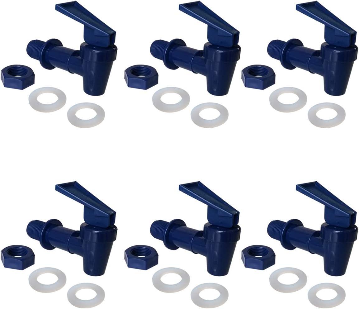 Water Crock Water Tap - Water Bottle Jug Reusable Spigot Spout - Replacement Water Beverage Lever Pour Dispenser Valve - Water Dispenser Cooler Faucet.(Pack of 6 Blue)
