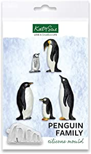 Penguin Family Silicone Mold for Christmas Cake Decorating, Crafts, Cupcakes, Sugarcraft, Candies, Chocolate, Card Making and Clay, Food Safe Approved, Made in The UK