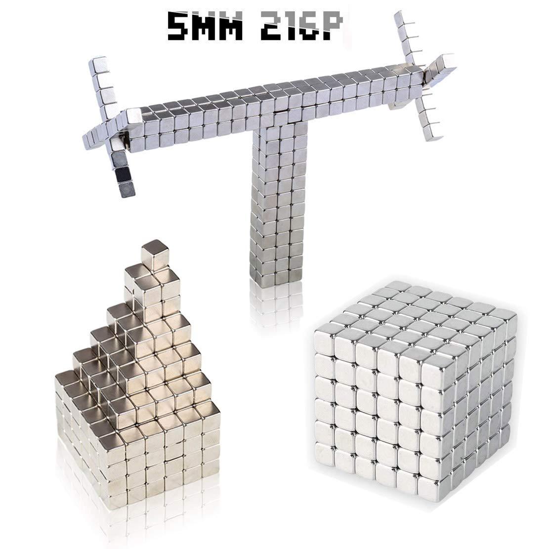 Magnetic Sculpture Blocks Cubes, MOYANG Magnet Sculpture Cubes 5mm 216P DIY Building Puzzle Office Toy & Stress Relief for Adults and Kids Intelligence Learning