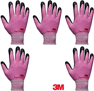 3M Super Grip 200 Lightweight Nitrile Work Gloves, 3D Comfort Stretch Fit, Durable Power Grip Foam Coated, Smart Touch, Thin Machine Washable, 5 Pairs Pack (Super Grip 200_Pink, Medium)