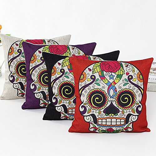 L&J.ART® 4 PCS 18'' Retro Colorful Mexican Day of the Dead Sugar Skull Flower Linen Pillow Cushion Covers 4NS2 ()