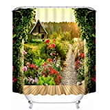 UniTendo Water-repellent Polyester Shower Curtain with 12 Hooks for Bathroom Decor,Mildew Free,72 x 72 inches,Beautiful Garden House