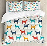 Ambesonne Dog Lover Decor Duvet Cover Set, Contemporary Colorful Illustration of Dog Figures with Contours in Retro Style, 3 Piece Bedding Set with Pillow Shams, Queen/Full, Grey Red Teal
