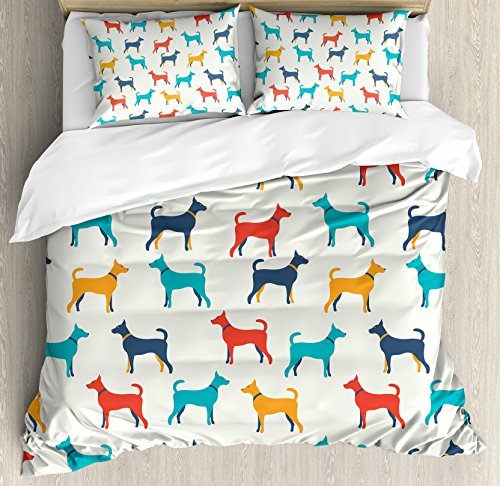 - Ambesonne Dog Lover Decor Duvet Cover Set, Contemporary Colorful Illustration of Dog Figures with Contours in Retro Style, 3 Piece Bedding Set with Pillow Shams, Queen/Full, Grey Red Teal