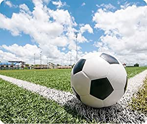 Soccer Ball On Chalk Line Mousepad by Atomic Market