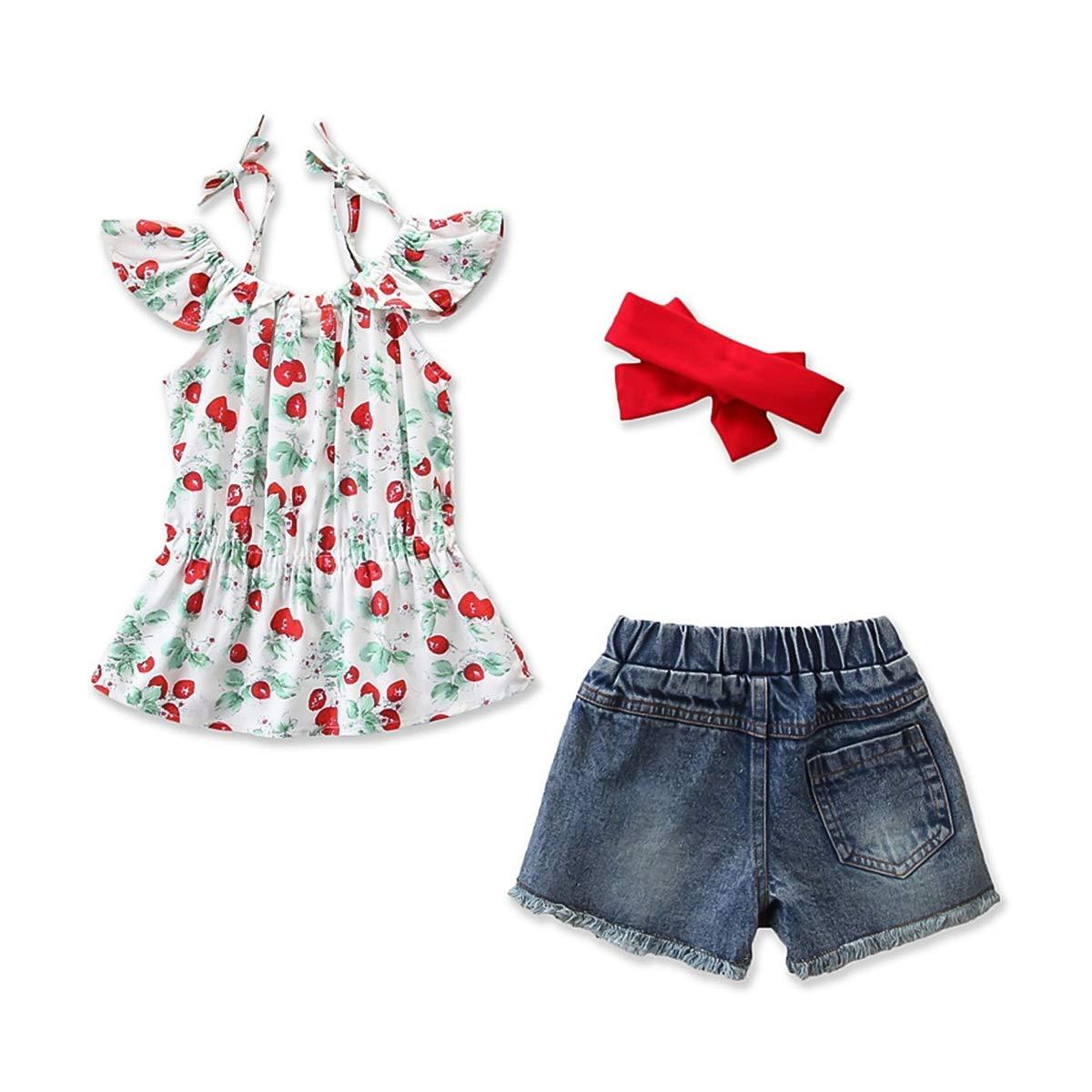 Girl Short Sleeve Clothes Cherry Tops Shirt Hole Pants Bowknot Headband Set