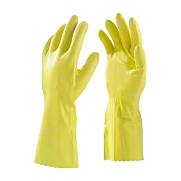 ULTRA CARE Household Rubber Latex Hand Gloves, Large (Yellow)