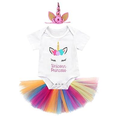e3a9037a2e7 Baby Girls 1st Birthday Cake Smash 3pcs Outfits Set Cotton Romper Bodysuit+Tutu  Dress+Flower ...