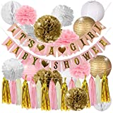 Package includes: 9pcs mixed color tissue paper pom poms; 4pcs mixed color paper lanterns, 2pcs white paper honeycomb balls; 1pc BABY SHOWER banner; 1pc IT'S A GIRL banner; 1pc tissue paper tassel.