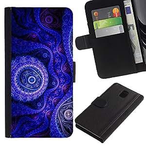 """Be-Star la tarjeta de CršŠdito Slots PU Funda de cuero Monedero caso cubierta de piel Para Samsung Galaxy Note 3 III ( Fondo de pantalla azul pš²rpura Dibujo Dise?o Arte"""" )"""