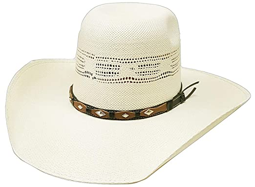 92b1068e8 Modestone Traditional High Crown Rodeo Straw Cowboy Hat White at ...