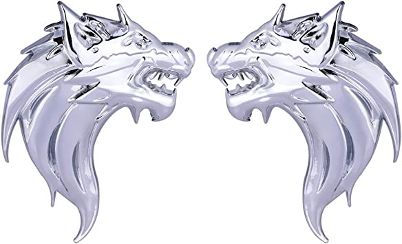 CARRUN 2pcs 3D Wolf Head Metal Emblem Car Motorcycles Side Fender Rear Styling Emblem Badge Decal Silver