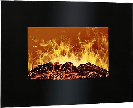 Bomann EK 6020 CB Chimenea eléctrica decorativa de pared, efecto llama ardiendo regulable, programable
