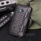 HTC One M7 Case, Cocomii Robot Armor NEW [Heavy Duty] Premium Belt Clip Holster Kickstand Shockproof Hard Bumper Shell [Military Defender] Full Body Dual Layer Rugged Cover (Black)