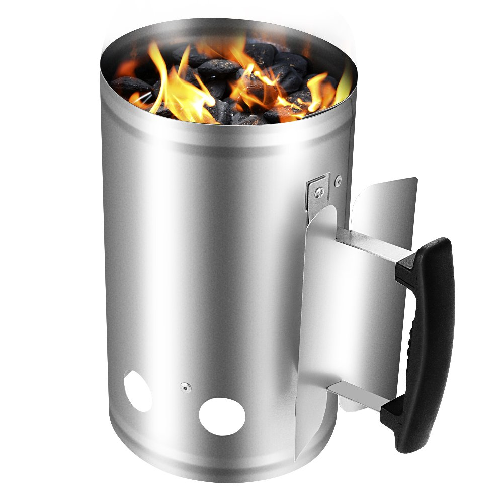 Charcoal Chimney Starter 11''X7'' Grill Barbecue BBQ Galvanized Steel Chimney Lighter Basket Outdoor Cooking Quick Rapid Fire Briquette Charcoal Starters Can Canister for Grilling Camping Accessories
