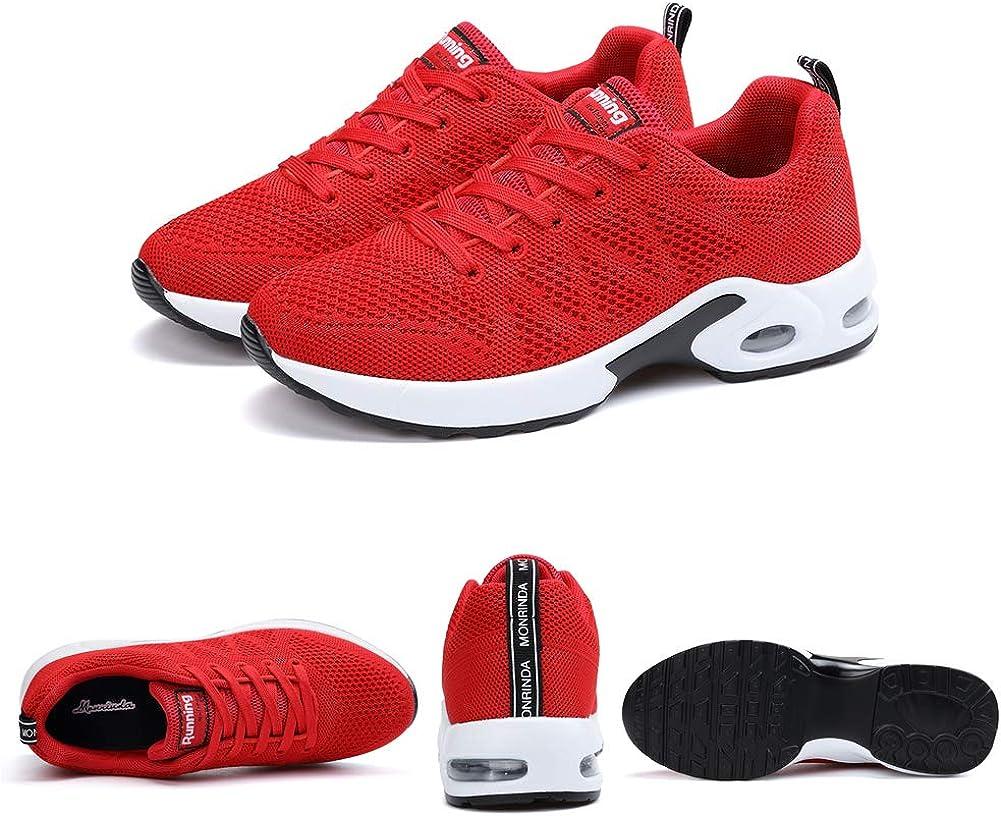 Basket Sneakers Femme pour Running Chaussures de Course Lacets Air Coussin 3cm Noir Rouge Bleu Blanc 34-44 EU