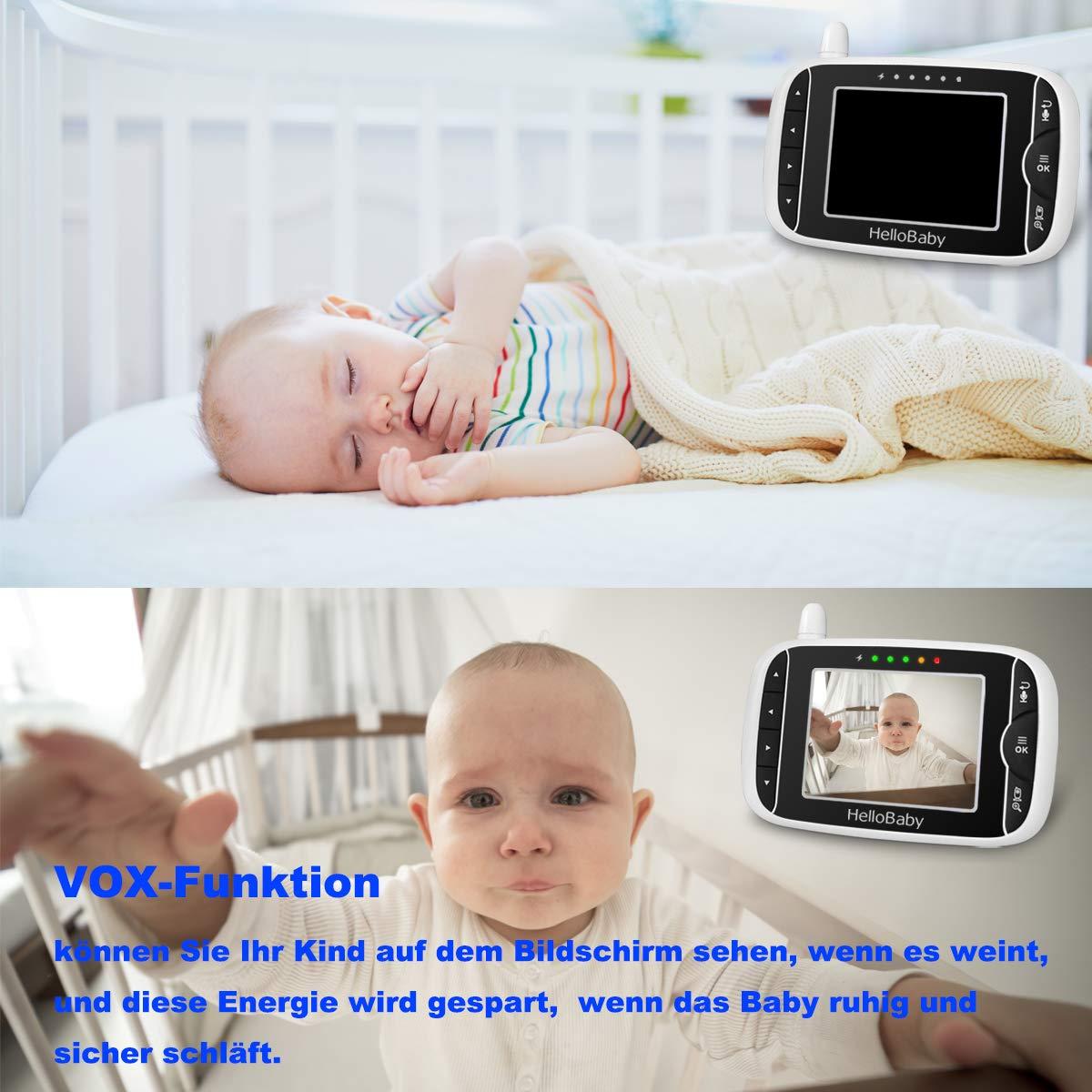HelloBaby Babyphone mit Kamera Wireless 3.2 LCD Digital Video VOX Funktion Nachtsicht Temperatur/überwachung mit Gegensprechfunktion Babymonitor HB32