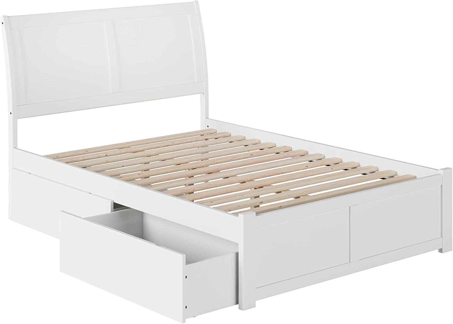 Atlantic Furniture Portland Platform Bed with 2 Urban Bed Drawers, Full, White