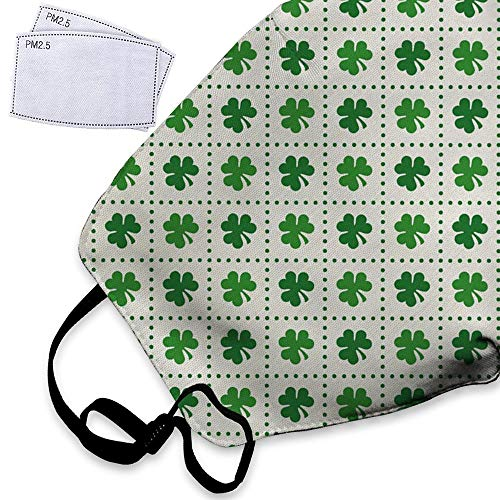 Irish Leaf Shamrock Clover Flowers Green Dust Mask Reusable Washable Breathable Anti Pollution Mask with PM 2.5 Activated Carbon Filter Insert Respirator Face Safety Masks For Men Women -