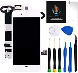 "for iPhone 8 Plus Screen Replacement Kit White 5.5"" LCD Display for iPhone 8 Plus Replacement Touch Screen Digitizer Full Assembly + Front Camera + Earpiece + Repair Tools + Screen Protector (White)"