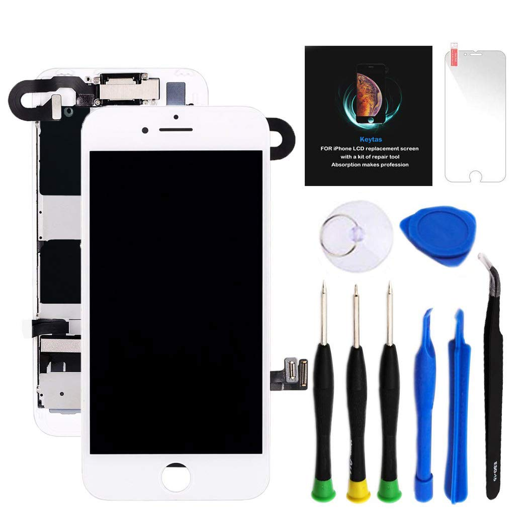 for iPhone 8 Plus Screen Replacement Kit White 5.5'' LCD Display for iPhone 8 Plus Replacement Touch Screen Digitizer Full Assembly + Front Camera + Earpiece + Repair Tools + Screen Protector (White) by Keytas