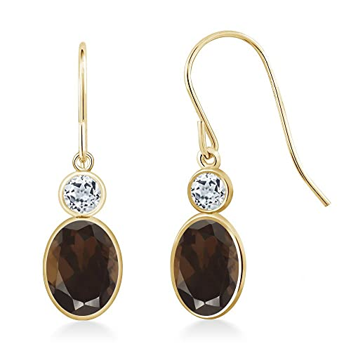 Gem Stone King 1.78 Ct Oval Brown Smoky Quartz White Topaz 14K Yellow Gold Earrings