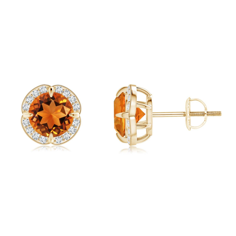 Angara Prong Set Diamond Halo Citrine Stud Earrings in Platinum faHgOS