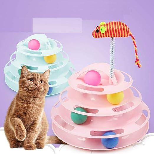 SAMMZN Placa del Gato Bola de Seguimiento Juguete Divertido del Gato Nueva Mascota Jugar Caramelo Color de Cuatro Capas Placa del Juego del Gato de la Pista: Amazon.es: Productos para mascotas