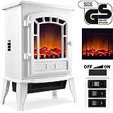 Cheminée électrique avec effet de chauffage et cheminée 2000 W Noir/lanc effet flamme flamme Ambiente Four avec chauffage soufflant, blanc